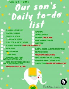 Daily to-do list for a one year old boy